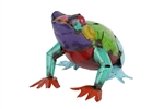 colorful metal  frog, rustic home decor provided by Mexican Imports