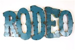 Colorful recycled metal rodeo Sign like this rustic home decor provided by Mexican Imports