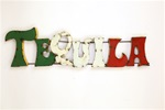 Colorful recycled metal Tequila Sign like this rustic home decor provided by Mexican Imports