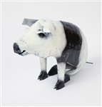 Black and white sitting pig rustic home decor provided by Mexican Imports