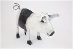 Black and white standing pig rustic home decor provided by Mexican Imports