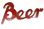 Colorful recycled metal beer Sign like this rustic home decor provided by Mexican Imports
