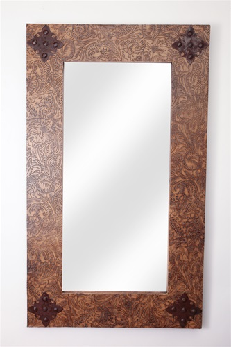 Rustic Mirror-Rustic Ranch-Tooled Leather