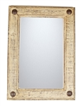 Rustic shabby white Mirror, rustic home decor provided by Mexican Imports