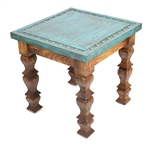 Using old doors , this rustic turquoise silver conchos end table