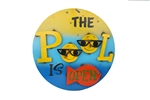 The Pool is Open Colorful Metal Outdoor Sign like this rustic home decor provided by Mexican Imports