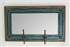 Old Ranch with Barbed Wire hat rack (Turquoise/Brown) - Rustic Mirror, rustic home decor provided by Mexican Imports